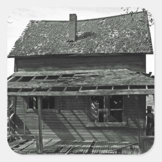 Little House  On Juniper Flats B/W Square Sticker
