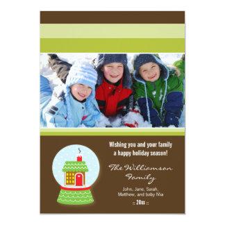 Little House Snowglobe Custom Family Holiday Card