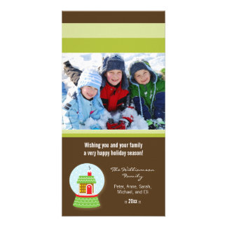 Little House Snowglobe Custom Holiday Photocard Card