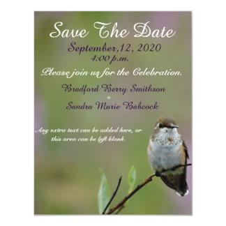 "little Hummingbird Save the Date invite 4.25"" X 5.5"" Invitation Card"