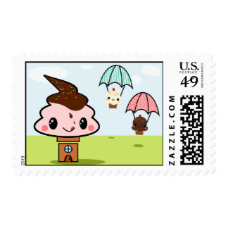 Little Ice cream house & cup cake friends Postage Stamp