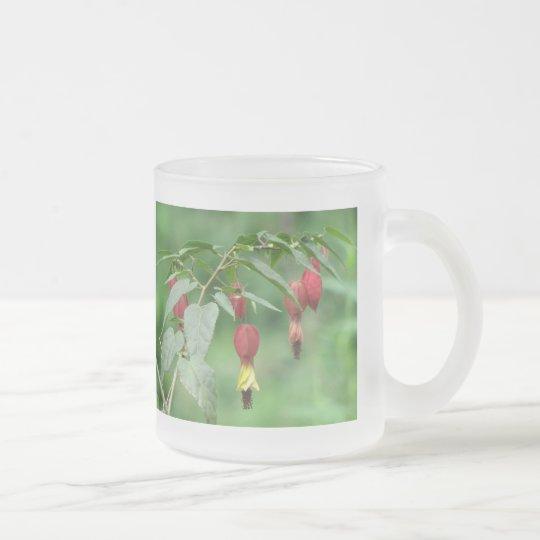 Little Imp Abutilon Flowers Frosted Glass Coffee Mug