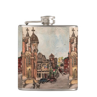 Little Italy, Cleveland Painting on a Flask