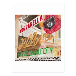 Little Italy Deli Window Watercolor Postcard