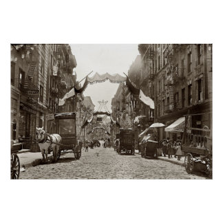 Little Italy Mott Street NYC Photograph (1908) Poster