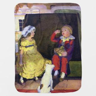 Little Jack Horner Vintage Nursery Rhyme Swaddle Blanket
