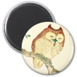 Little Japanese owl 2 Inch Round Magnet