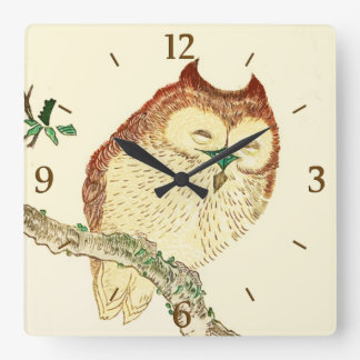 Little Japanese owl Square Wall Clock