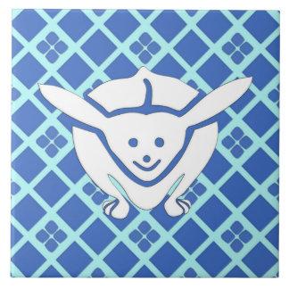 Little Japanese rabbit, blue Tile