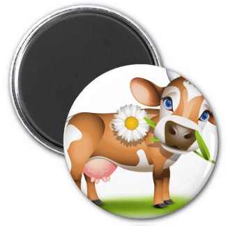 Little Jersey cow eating daisy 2 Inch Round Magnet