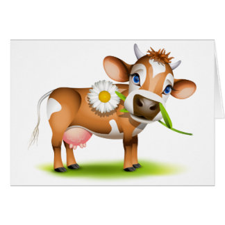 Little Jersey cow eating daisy Card