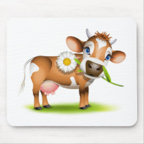 Little Jersey cow eating daisy Mouse Pad
