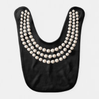 Little Jewel (pearls, black) Baby Bib