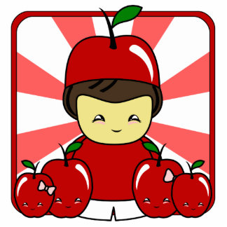 Little Kawaii Apple Boy With Apples Cut Outs