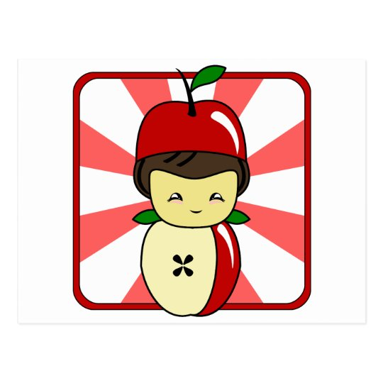 Little Kawaii Apple Boy With Seeds Postcard