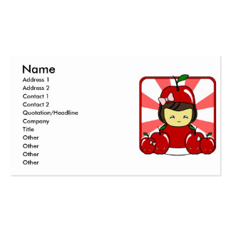 Little Kawaii Apple Girl With Apples Double-Sided Standard Business Cards (Pack Of 100)