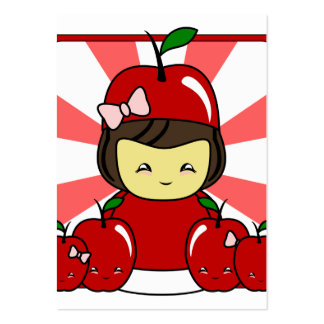 Little Kawaii Apple Girl With Apples Large Business Cards (Pack Of 100)
