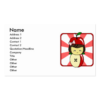 Little Kawaii Apple Girl With Seeds Double-Sided Standard Business Cards (Pack Of 100)