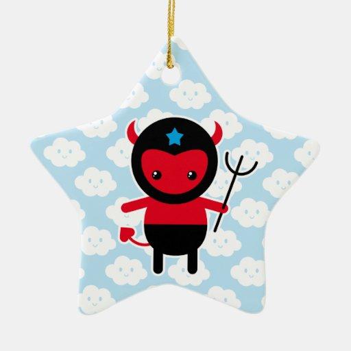 Little kawaii Ninja devil Double-Sided Star Ceramic Christmas Ornament