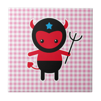 Little kawaii Ninja devil Small Square Tile