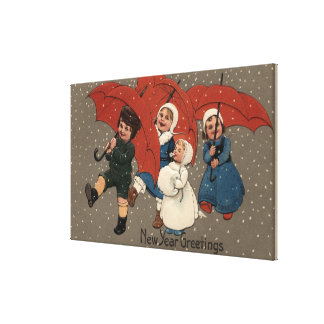 Little Kids with Umbrellas Canvas Print