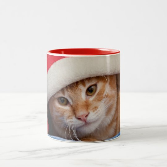 Little Kitten in Red Christmas Hat Two-Tone Coffee Mug