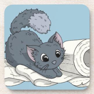 Little Kitten on paper Beverage Coaster