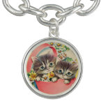 Little Kittens A Hatbox and Daisies Charm Bracelet