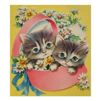 Little Kittens A Hatbox and Daisies Poster