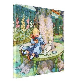 Little Kitty and Child from Mother Goose Canvas Print