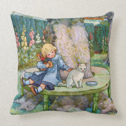 Little Kitty and Child from Mother Goose Throw Pillow