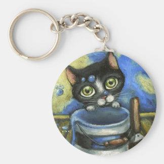 Little Kitty Basic Round Button Keychain