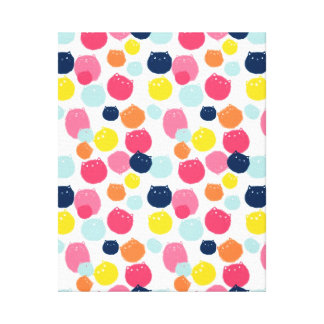 Little Kitty Cats Colourful Dots Canvas Print