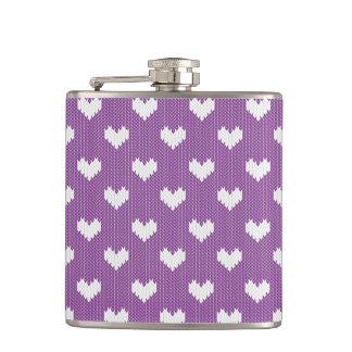 Little Knit Hearts Pattern on Purple Hip Flask