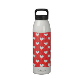 Little Knitted Hearts Pattern on Red Love Reusable Water Bottle
