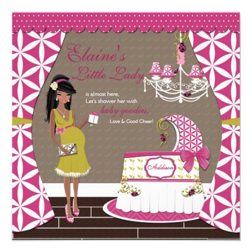 Little Lady African American Girl Baby Shower Personalized Invitation