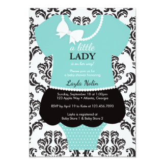 Little Lady Baby Shower Invitation, Blue, Pearls Card