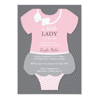 Little Lady Baby Shower Invitation, Pink, Pearls Card
