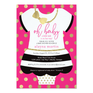 Little Lady Baby Shower Invite, Faux Glitter/Foil Card