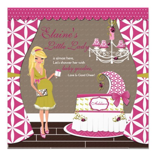 Little Lady Blonde Girl Baby Shower Invitations
