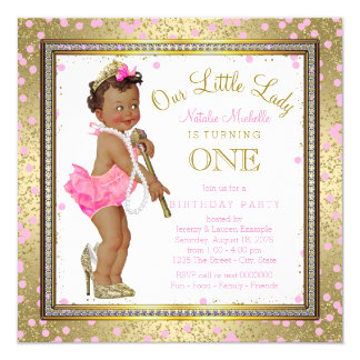 Little Lady Girls 1st Birthday Party Ethnic Girl Card