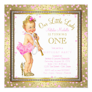 Little Lady Girls 1st Birthday Party Pink Gold Card