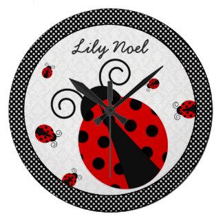Little Lady Ladybug Clock-Great for nurseries! Large Clock