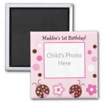 Little Lady Ladybug Photo Birthday Favor Magnets