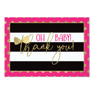 Little Lady Thank You Card, Faux Gold Card
