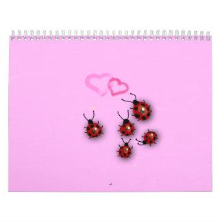 Little ladybirds and dreamy pink landscape wall calendar