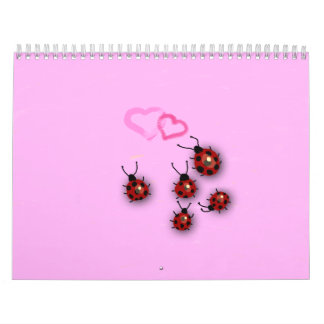 Little ladybirds and dreamy pink landscape calendar