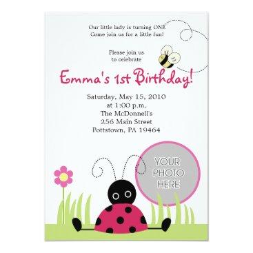 Little Ladybug 1st Birthday Invitation