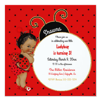 Little Ladybug African American Girl Red Black Card