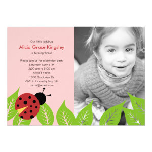 Little Ladybug Birthday Photo Invitation - Pink